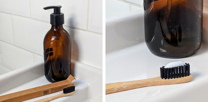 Left: Glass bottle for hand soap and bamboo toothbrush; Right: Bamboo toothbrush with toothpaste on