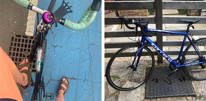 Left: Hanna sitting on her bike; Right: A blue bike leaning against a fence