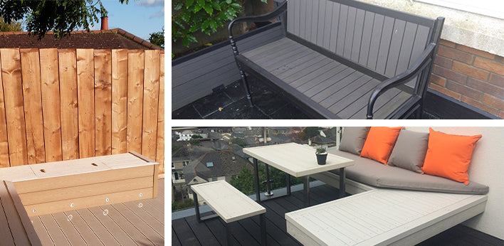 Various benches made from decking and cladding