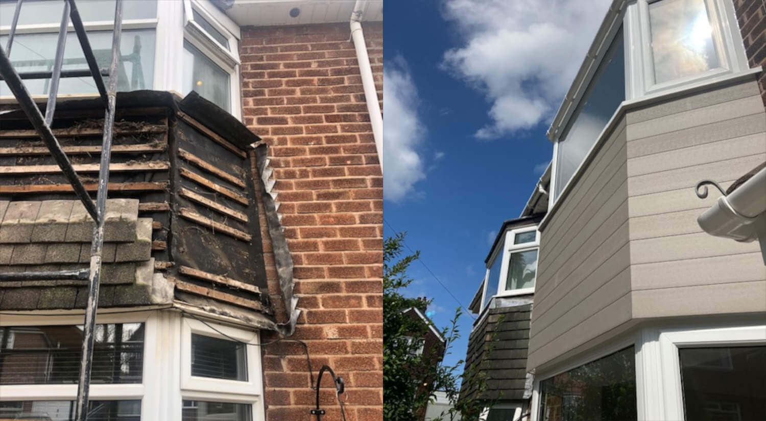 before and after of bay window composite cladding project