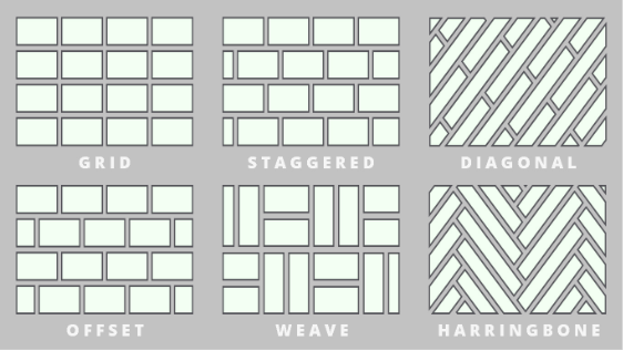 Different designs available for laminate: grid, staggered, diagonal, offset, weave and harringbone