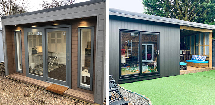 Left: Garden Room featuring Hyperion Cladding in Stone, Right: Garden Room featuring Hyperion Cladding in Stone by M. Mioducki