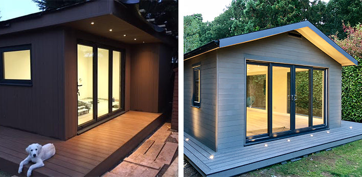 Left: Garden Room with Lights featuring Hyperion Cladding in Walnut by N. Rees, Right: Garden Room with Lights featuring Hyperion Cladding in Oak