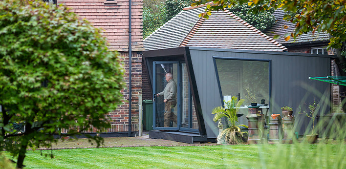 Garden Room featuring Hyperion Cladding in Stone by Green Retreats Ltd.