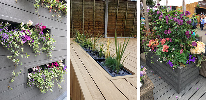 A variety of planters made from decking and cladding
