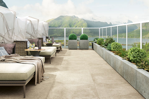 Limestone stone effect porcelain paving used on a terrace