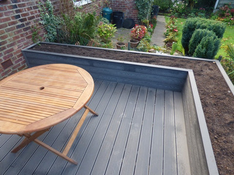 Composite Decking in Stone colour as a Raised Bed