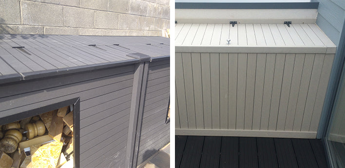 Left: wood storage made from cladding; Right: chest made from decking
