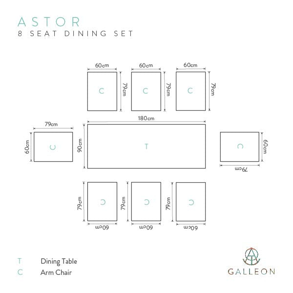 Astor Dark 8 Seat Dining Set