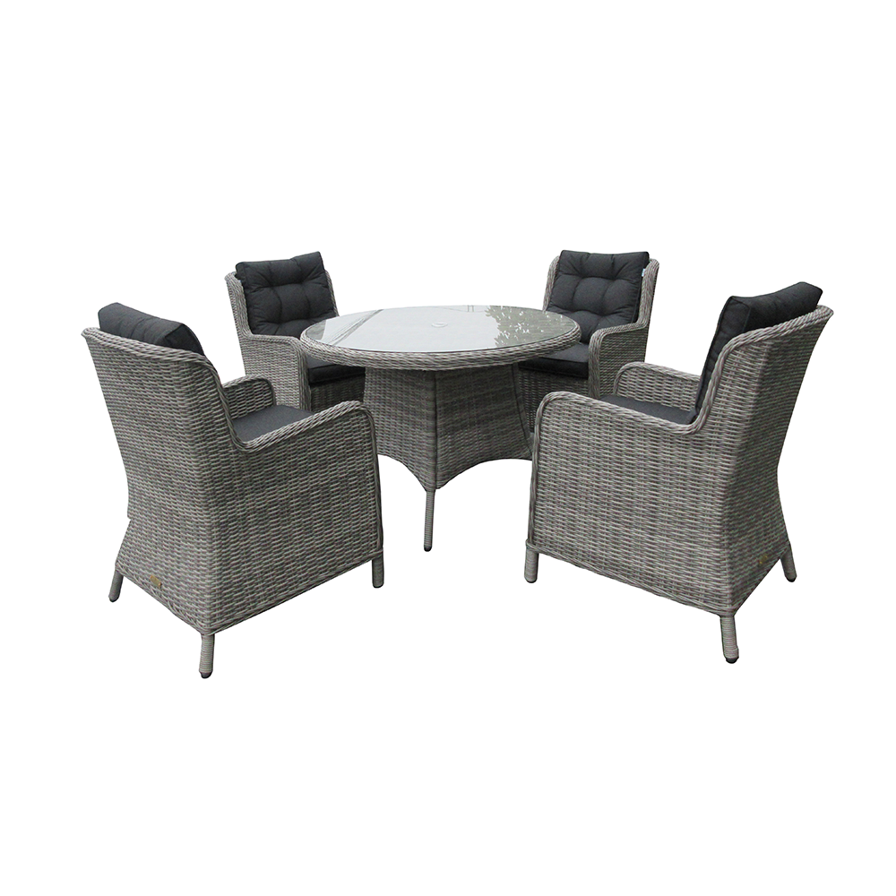Astor Dark 4 Seat Round Dining Set