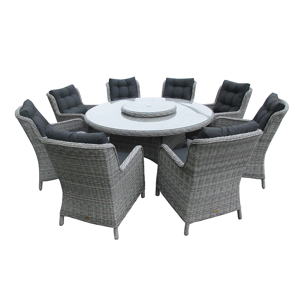 Astor Dark 8 Seat Round Dining Set