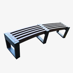 Manticore Lumber curved black & brown recycled plastic bench
