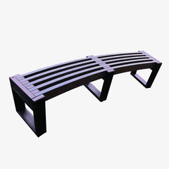 Manticore Lumber curved brown recycled plastic bench