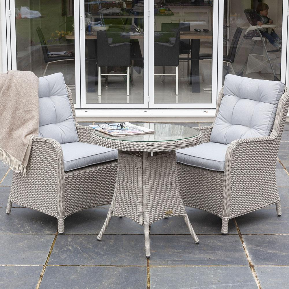 Astor 2 Seater Grey Rattan Garden Bistro Table and Chair Set | Galleon