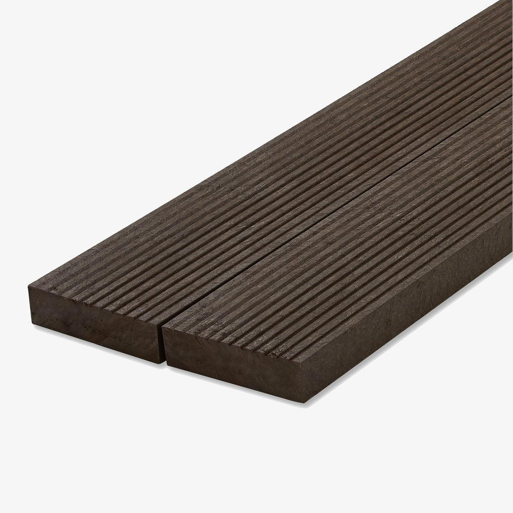 Recycled plastic lumber decking brown
