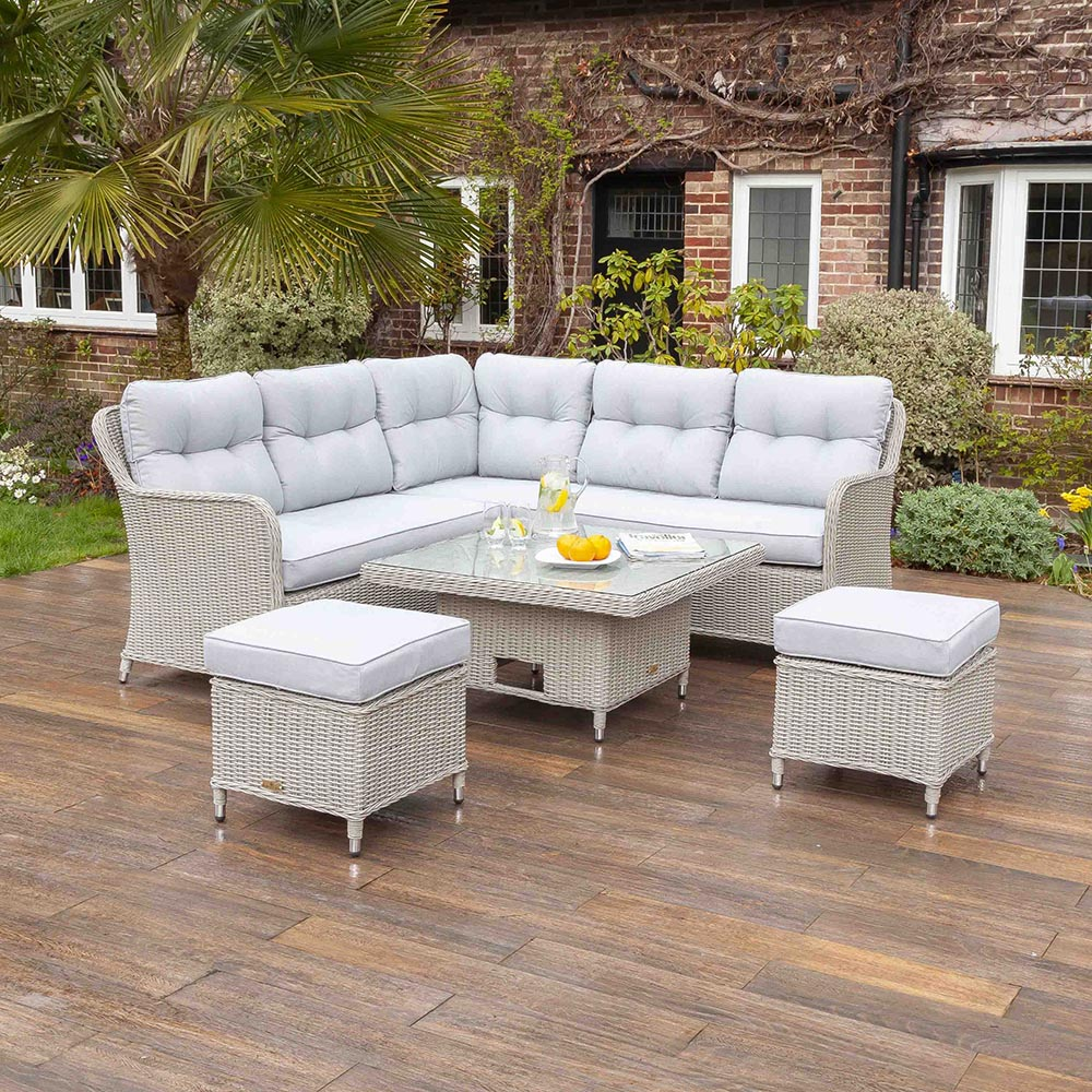 Kingsley Grey 7 Seat Rattan Corner Dining Table & Chair Set | Galleon