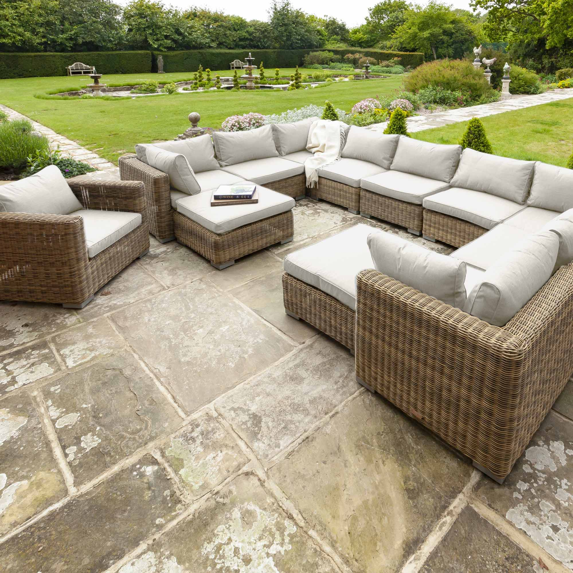 Livingstone  9 Seater Sofa Set With Armchair & Double Footstool
