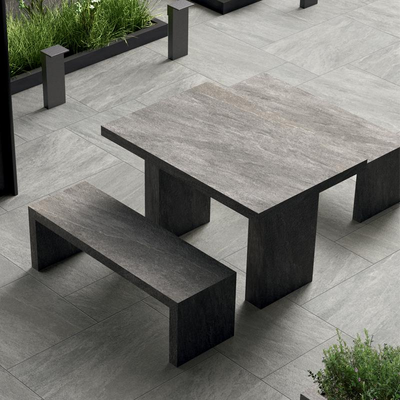 Pebble paving used for outside table