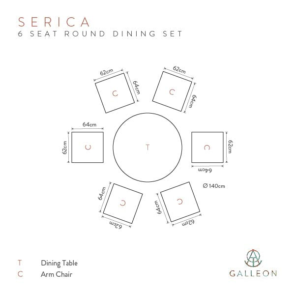 Serica Dark 6 Seat Dining Set