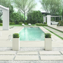 Umber paving used in modern garden with pool