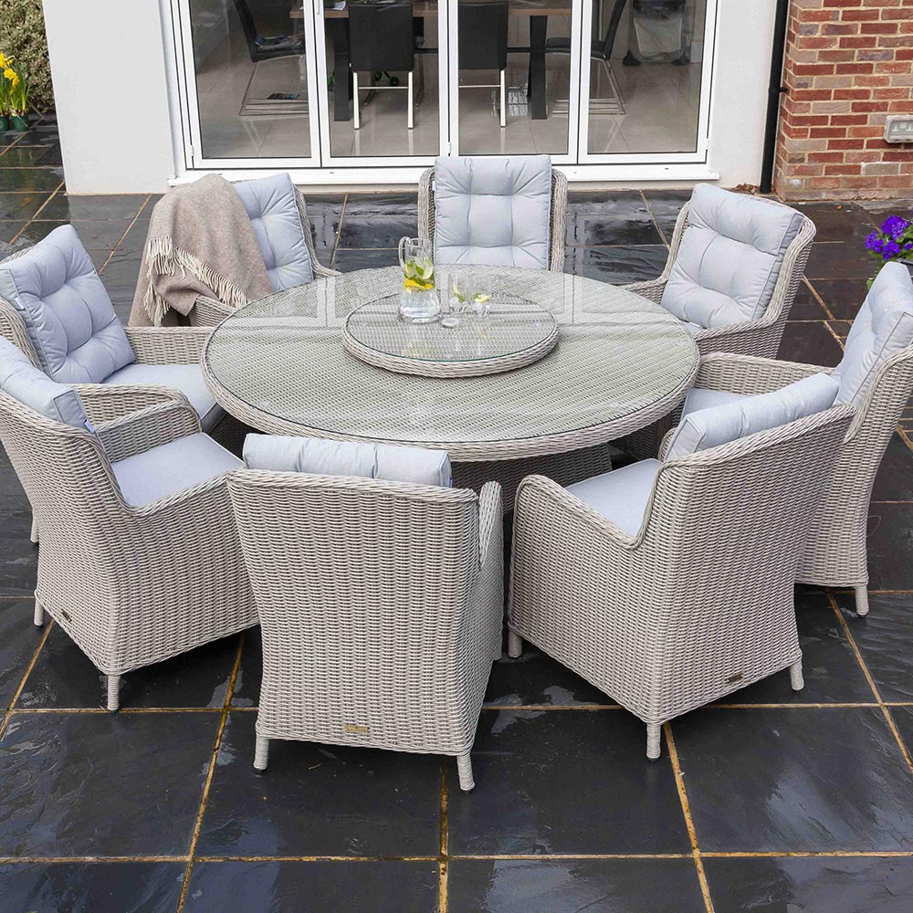 Astor 8 Seater Grey Rattan Garden Dining Table And Chair