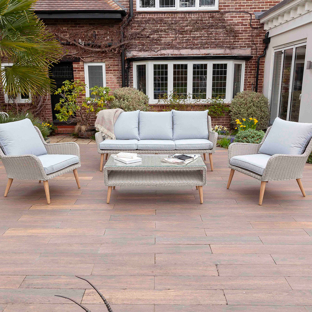 Nightingale Grey 5 Seater Garden Rattan Sofa Set | Galleon