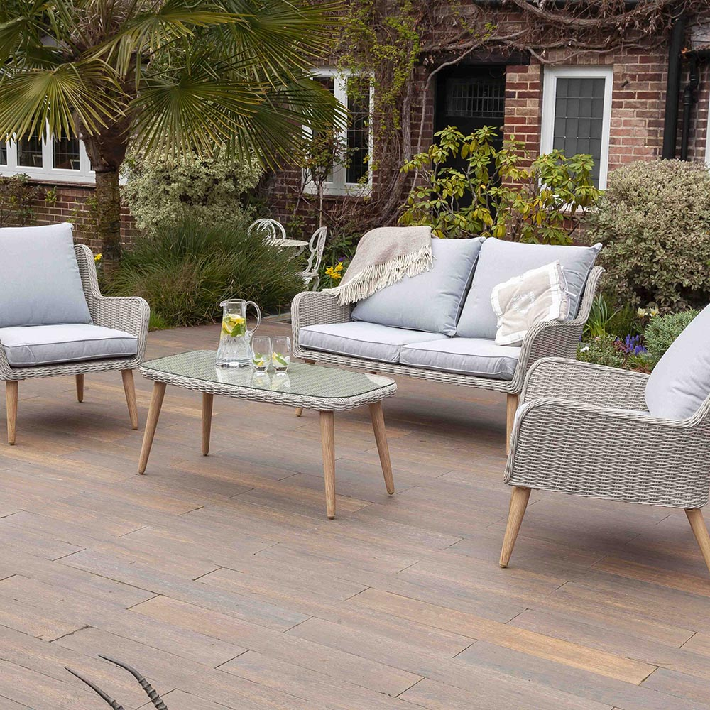 Nightingale Grey 4 Seater Garden Rattan Sofa Set | Galleon
