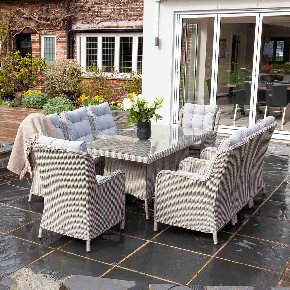 Astor 8 Seater Grey Rattan Garden Dining Table and Chair Set | Galleon