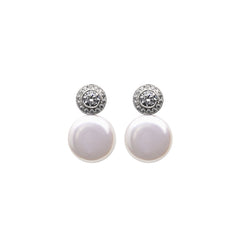 HALO COIN PEARL EARRINGS