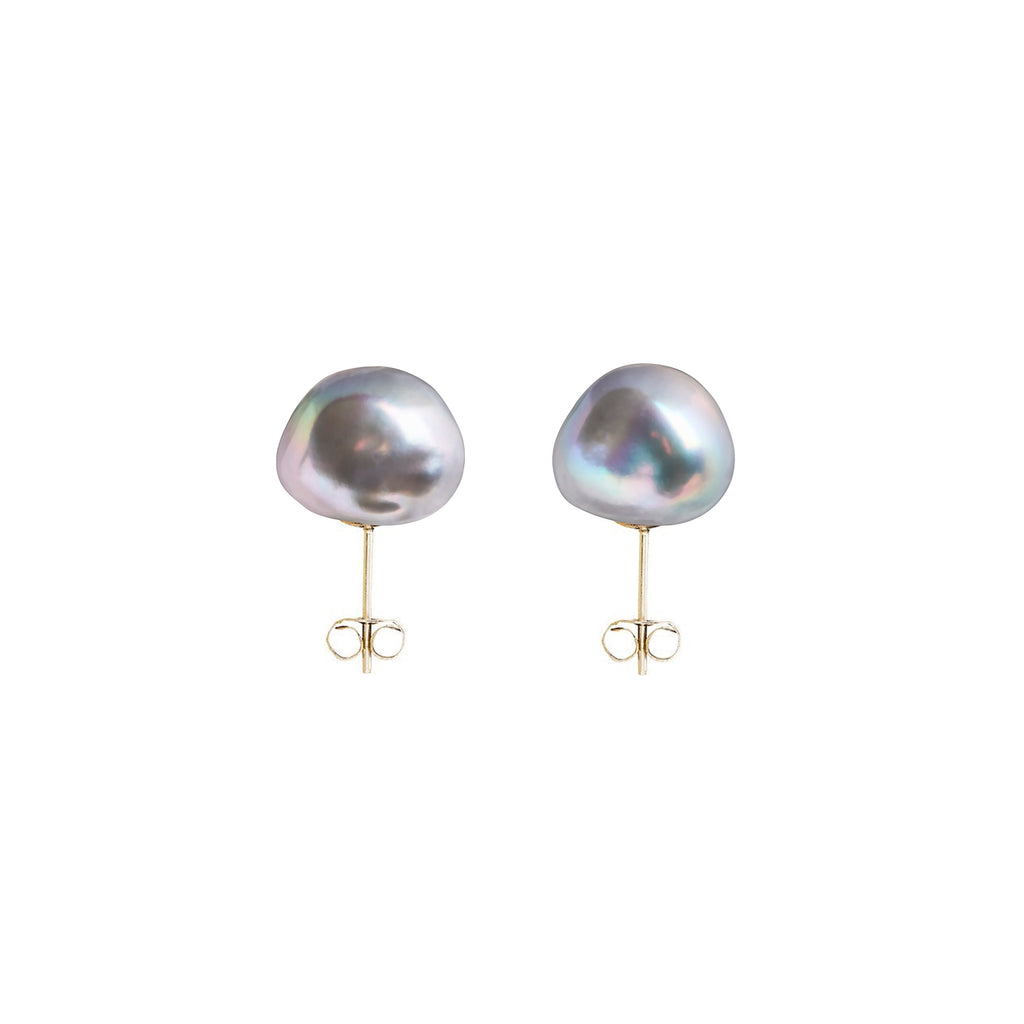 earrings baroque silver original greypearl pearl stud product grey sarahhickeyjewellery