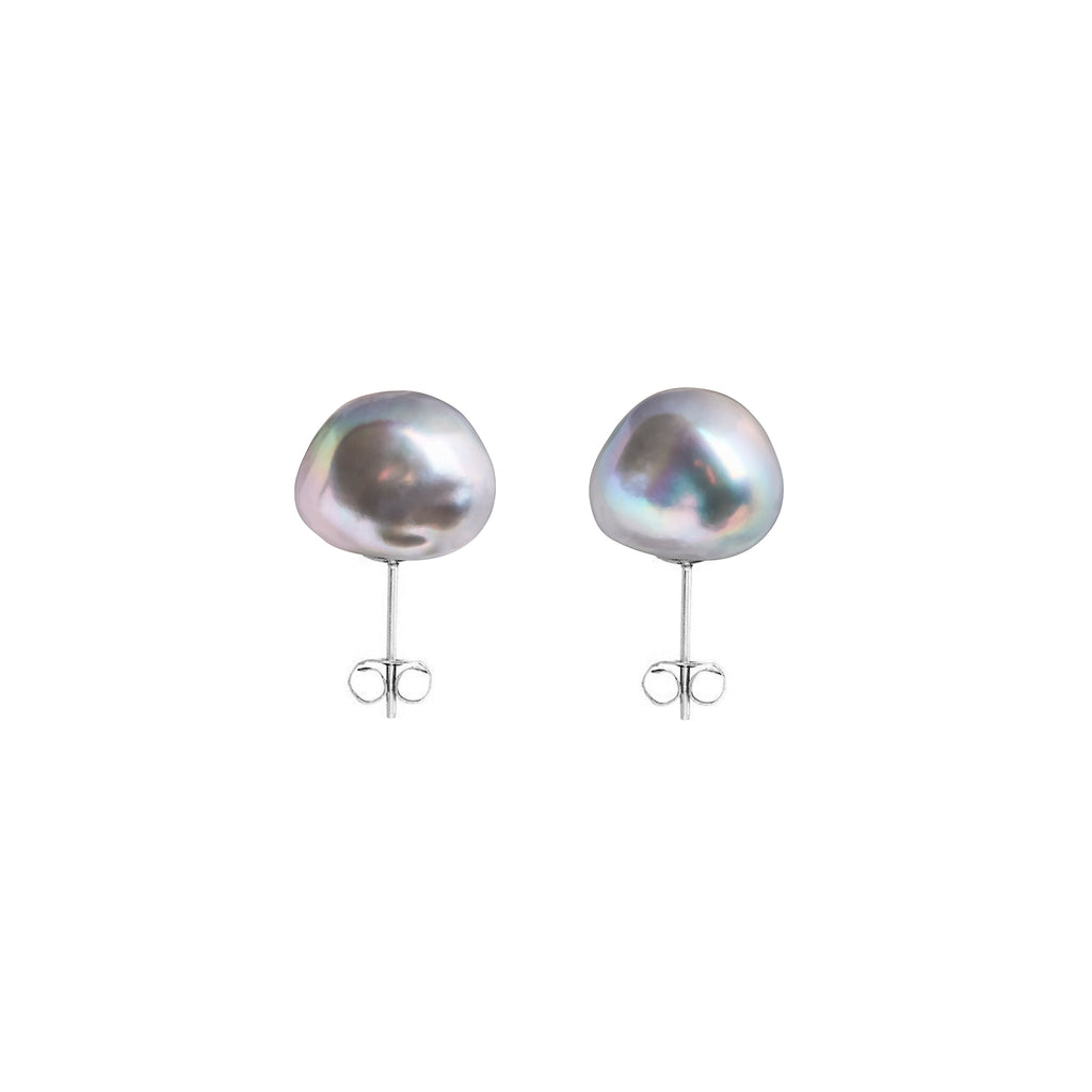 GREY BAROQUE PEARL STUD EARRINGS