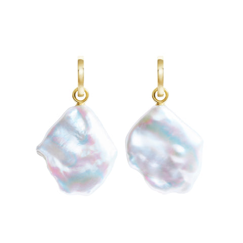 AURELIA FLAT BAROQUE PEARL HOOP EARRINGS