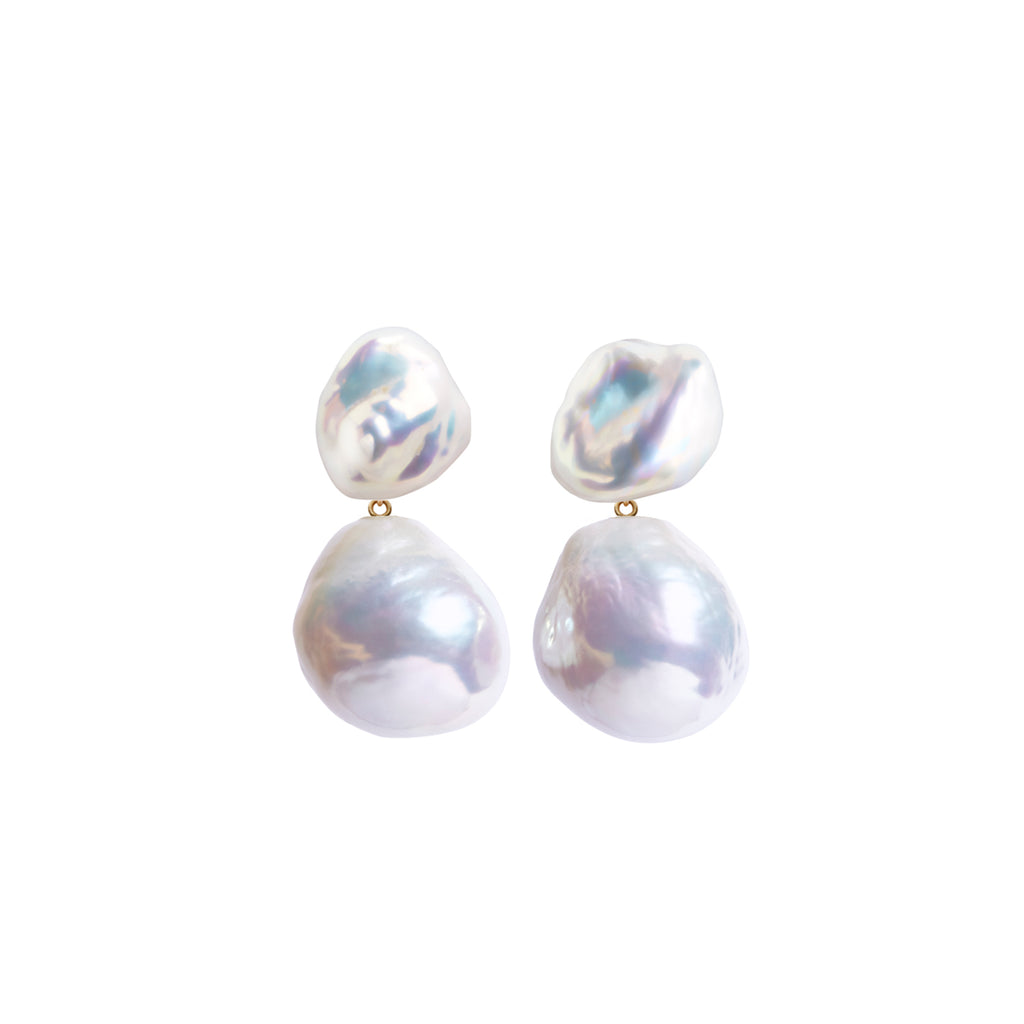 DUET KESHI & BAROQUE PEARL EARRINGS