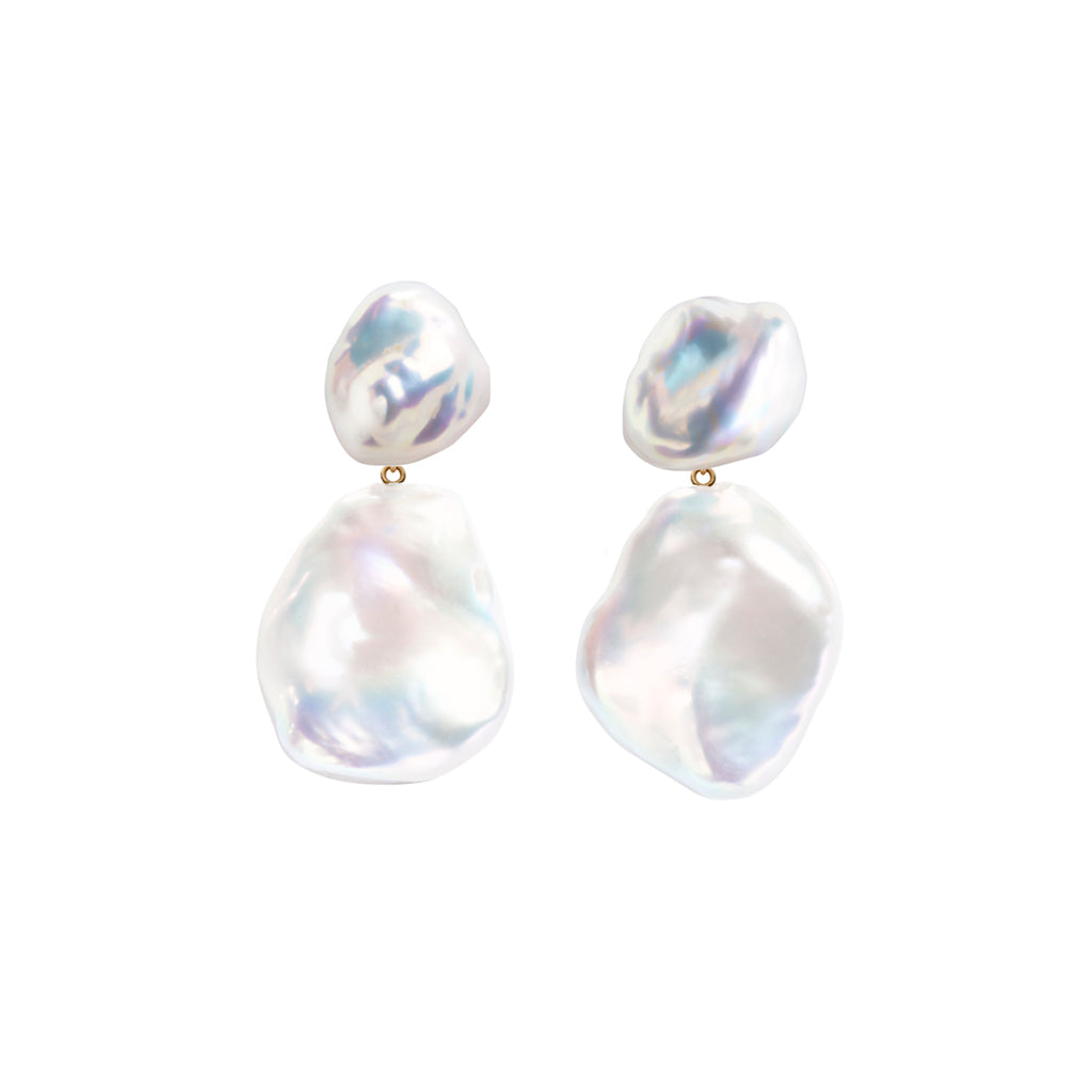 DUET KESHI & FLAT BAROQUE PEARL EARRINGS