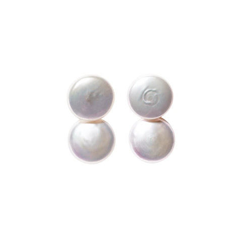 DUET COIN PEARL EARRINGS
