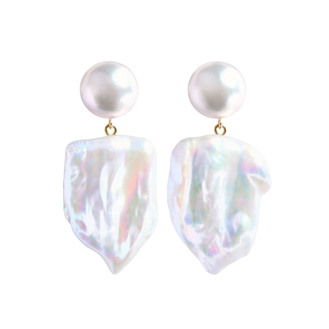 XXL SABRE DUET ROUND PEARL EARRINGS