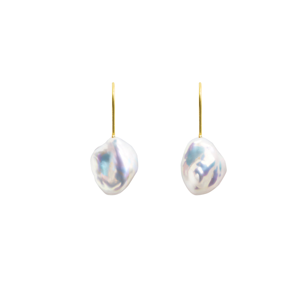 MERMAID KESHI PEARL HOOK EARRINGS