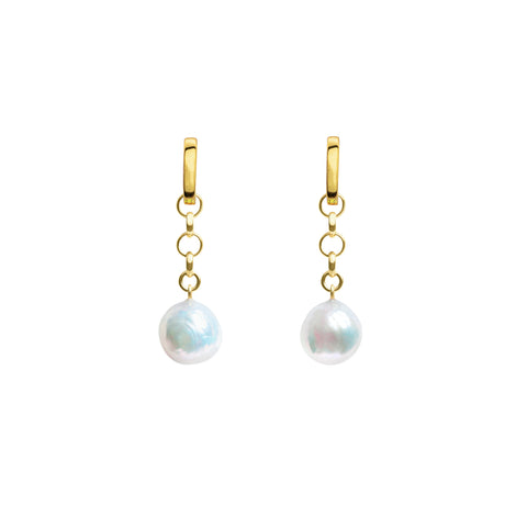 AELIA CHAIN BAROQUE PEARL HOOP EARRINGS