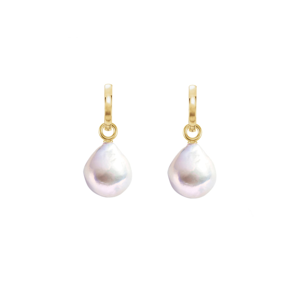 XXL WHITE DROP PEARL HOOP EARRINGS