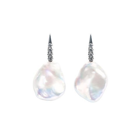 LUMINI FLAT BAROQUE PEARL EARRINGS