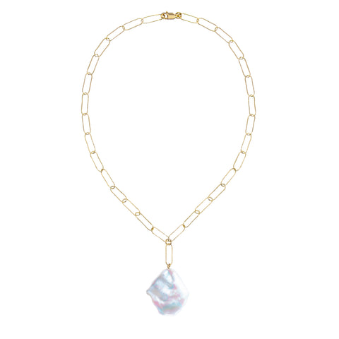 AURELIA FLAT BAROQUE PEARL CHAIN NECKLACE