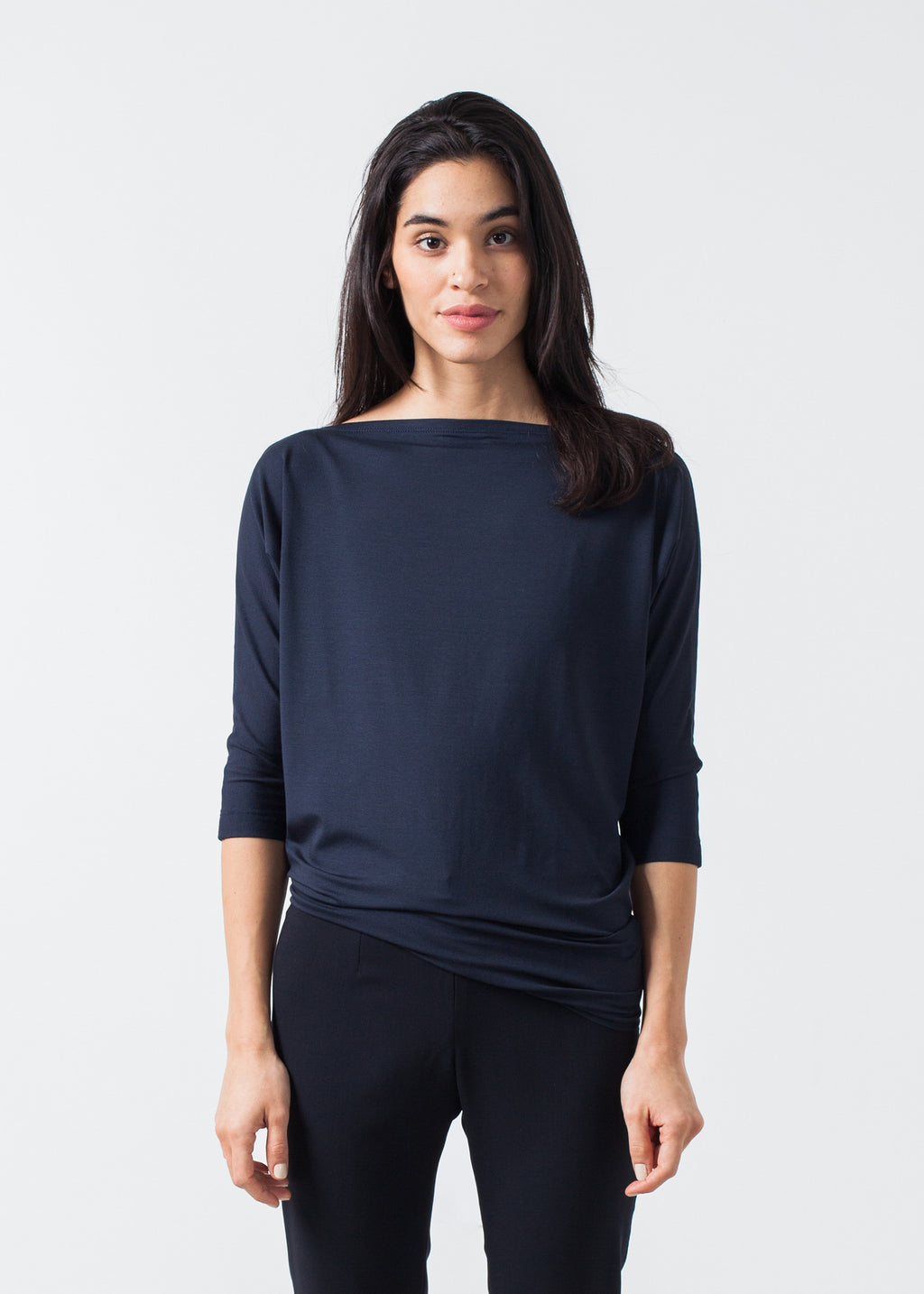 Boat Neck Top in Marine