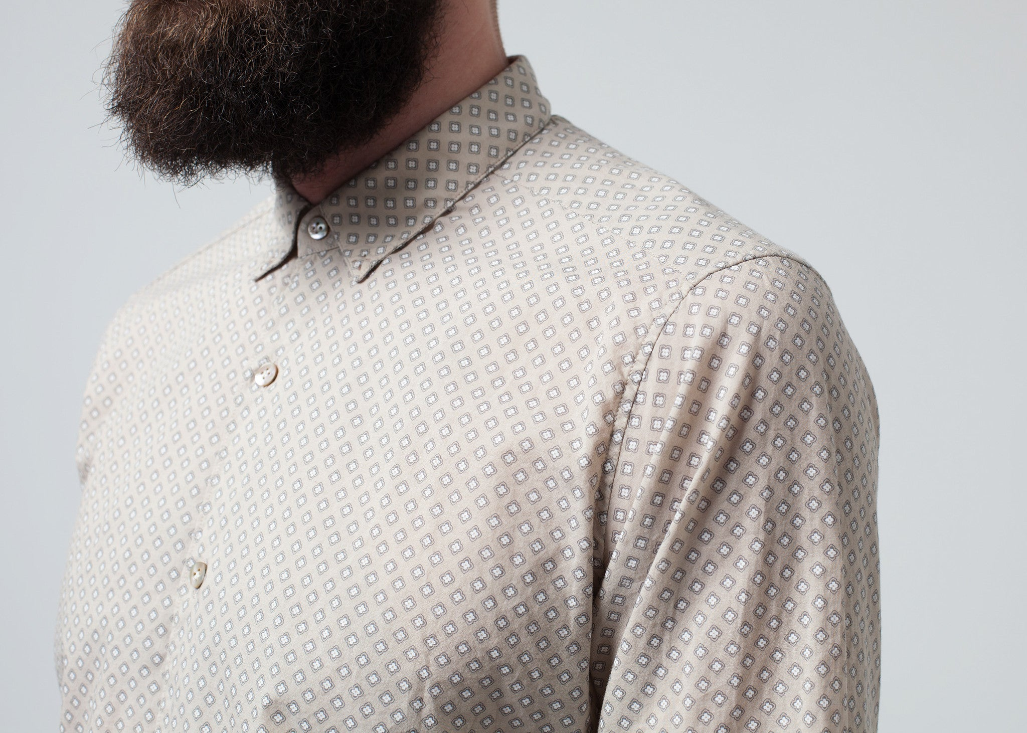Patterned Button Up in Beige