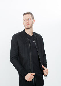 Broken Leather Bomber in Black