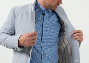 Seersucker Five Button Blazer