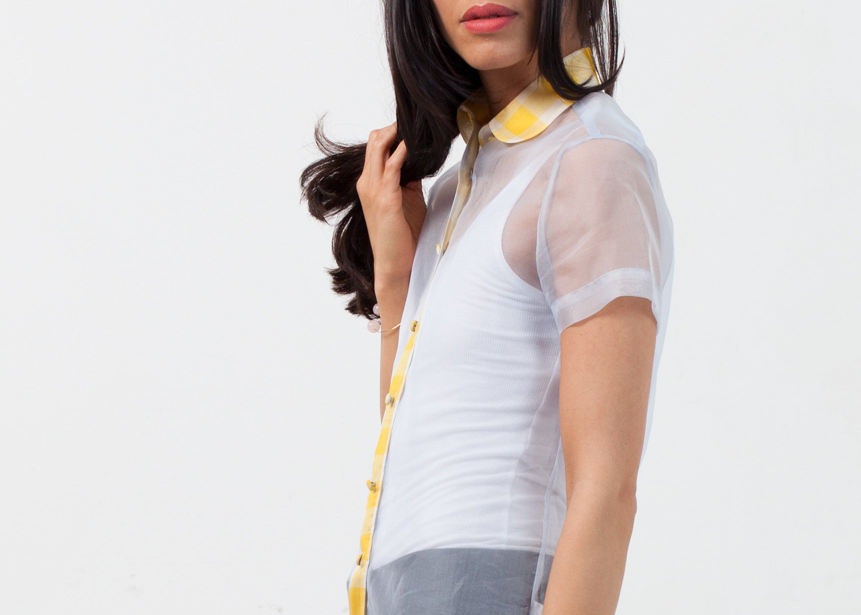 Sheer Button-Up Blouse in Pale Blue