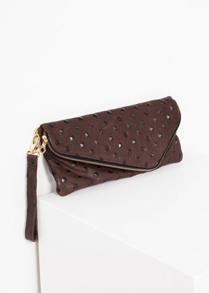 Roxanne Leather Clutch in Brown