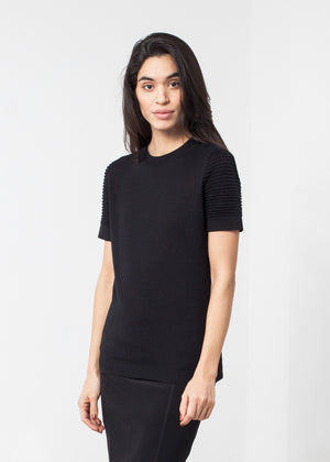 Ribbed Short Sleeve Knit