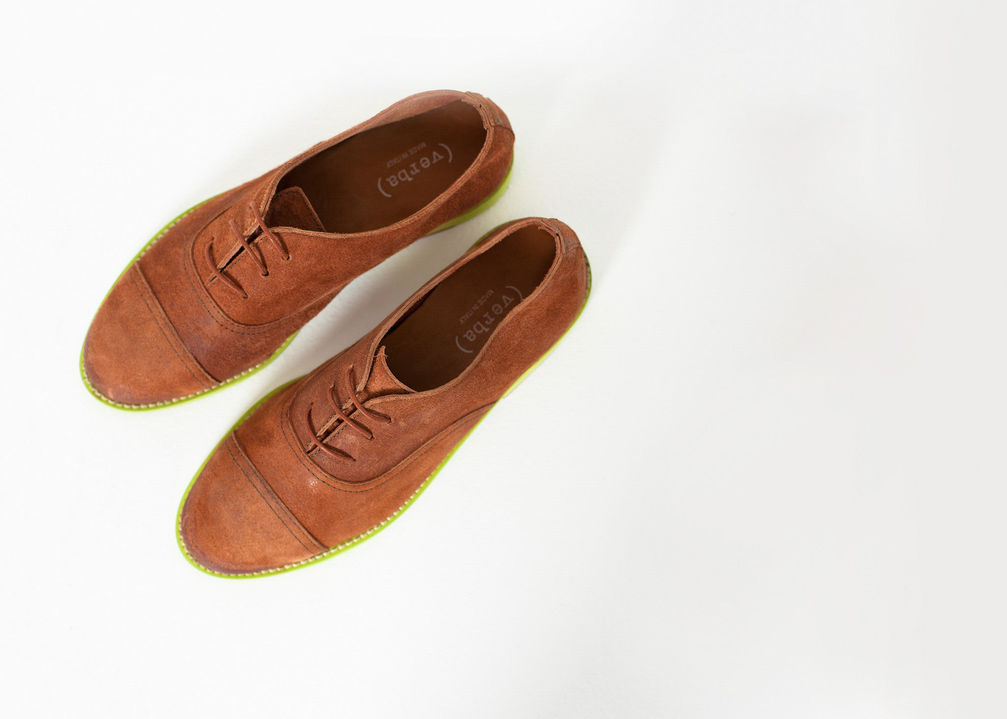 Suede Oxford in Natural/Lime