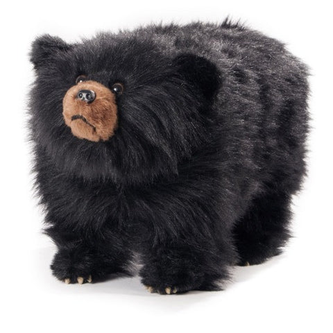 """Shadow"" Shaggy Black Bear Footstool"
